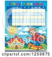School Timetable With A Boy Skateboarding To School