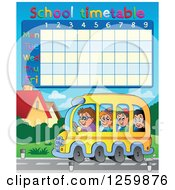 Clipart Of A School Timetable With Children Riding A Bus Royalty Free Vector Illustration by visekart