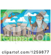 Clipart Of A Senior Druid Man At Stonehenge Royalty Free Vector Illustration by visekart