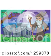 Clipart Of A Druid Wizard At Stonehenge Royalty Free Vector Illustration by visekart