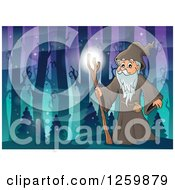 Clipart Of A Druid Wizard In A Magical Forest Royalty Free Vector Illustration
