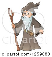 Clipart Of A Senior Druid Man Royalty Free Vector Illustration