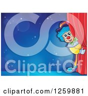 Circus Clown Peeking Around Red Drapes Framing A Blue Stage