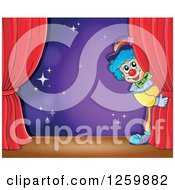 Clipart Of A Circus Clown Peeking Around Red Drapes Framing A Purple Stage Royalty Free Vector Illustration