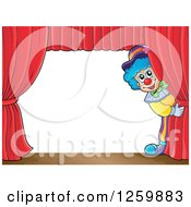 Clipart Of A Circus Clown Peeking Around Red Drapes Framing A Stage Royalty Free Vector Illustration