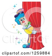 Clipart Of A Circus Clown Peeking Around Red Drapes Royalty Free Vector Illustration by visekart