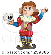 Clipart Of A Young Actor Holding A Skull Royalty Free Vector Illustration