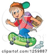 Brunette Caucasian School Boy Riding A Skateboard