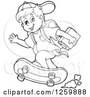 Clipart Of A Black And White School Boy Riding A Skateboard Royalty Free Vector Illustration