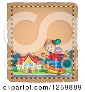 Clipart Of A Parchment Page Of A Brunette Caucasian School Boy Riding A Skateboard Royalty Free Vector Illustration