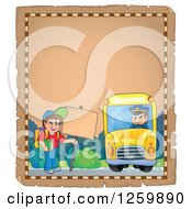 Clipart Of A Parchment Page Of A Boy Waiting For A School Bus Royalty Free Vector Illustration