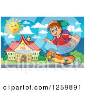 Clipart Of A Brunette White School Boy Riding A Skateboard Royalty Free Vector Illustration