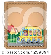 Clipart Of A Parchment Page Of Children Riding A School Bus Royalty Free Vector Illustration by visekart