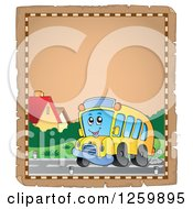 Clipart Of A Parchment Page Of A School Bus Royalty Free Vector Illustration by visekart