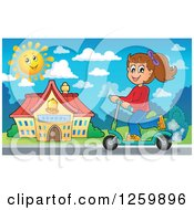 Clipart Of A Brunette White School Girl Riding A Scooter Royalty Free Vector Illustration by visekart