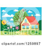 Clipart Of A Bird Resting On A Tree Over A House With A Flower Garden Royalty Free Vector Illustration