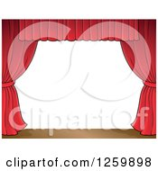 Clipart Of A Border Of A Stage And Red Curtains Royalty Free Vector Illustration