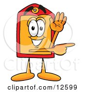 Clipart Picture Of A Price Tag Mascot Cartoon Character Waving And Pointing