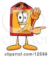 Price Tag Mascot Cartoon Character Waving And Pointing
