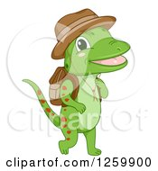 Clipart Of A Cute Green Gecko Hiking Royalty Free Vector Illustration by BNP Design Studio