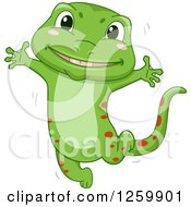Clipart Of A Cute Happy Green Gecko Jumping Royalty Free Vector Illustration