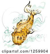 Clipart Of A Swimming Orange Koi Fish Mascot Royalty Free Vector Illustration