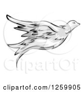 Clipart Of A Flying Dove Mascot Royalty Free Vector Illustration