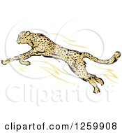 Clipart Of A Leaping Cheetah Mascot Royalty Free Vector Illustration