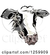 Clipart Of A Dairy Cow Mascot Royalty Free Vector Illustration