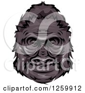 Clipart Of A Happy Gorilla Head Mascot Royalty Free Vector Illustration