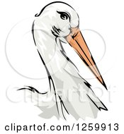 Clipart Of A Stork Bird Mascot Royalty Free Vector Illustration by BNP Design Studio