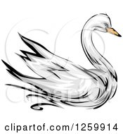 Clipart Of A Swan Bird Mascot Royalty Free Vector Illustration
