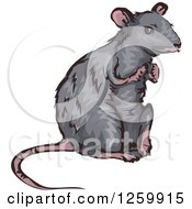 Clipart Of A Gray Rat Mascot Royalty Free Vector Illustration
