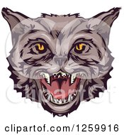 Clipart Of A Hissing Wildcat Mascot Royalty Free Vector Illustration