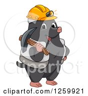 Clipart Of A Happy Miner Mole With Gear Royalty Free Vector Illustration