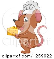 Clipart Of A Cute Brown Chef Mouse Holding Cheese Royalty Free Vector Illustration by BNP Design Studio