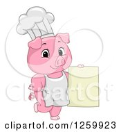 Clipart Of A Cute Chef Pig Holding A Menu Sign Royalty Free Vector Illustration by BNP Design Studio