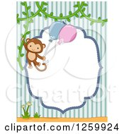 Clipart Of A Cute Boy Monkey Swinging With Balloons From A Vine Over A Frame And Stripes Royalty Free Vector Illustration