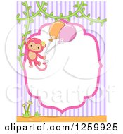 Clipart Of A Cute Pink Girl Monkey Swinging With Balloons From A Vine Over A Frame And Stripes Royalty Free Vector Illustration