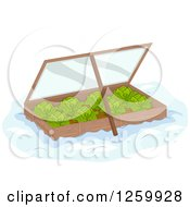 Clipart Of A Winter Garden Box Of Cabbage Royalty Free Vector Illustration