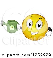 Clipart Of A Happy Emoticon Holding A Watering Can Royalty Free Vector Illustration