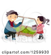 Clipart Of A Father And Daughter Tending To A Cabbage Winter Garden Box Royalty Free Vector Illustration
