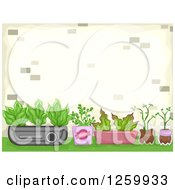 Clipart Of A Container Garden Royalty Free Vector Illustration