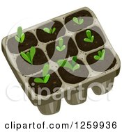 Clipart Of A Tray With Seedling Plants Royalty Free Vector Illustration