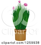 Clipart Of A Potted Chives Plant Royalty Free Vector Illustration
