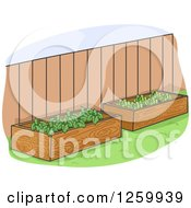 Clipart Of Raised Garden Beds In A Yard Royalty Free Vector Illustration