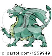 Clipart Of A Green Dragon Mascot Royalty Free Vector Illustration by BNP Design Studio