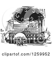 Clipart Of A Black And White Woodcut Steamboat Royalty Free Vector Illustration