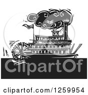 Clipart Of A Black And White Woodcut Steamboat Royalty Free Vector Illustration by xunantunich
