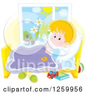 Clipart Of A Sick Blond White Boy With A Thermometer Under His Arm In Bed Royalty Free Vector Illustration by Alex Bannykh